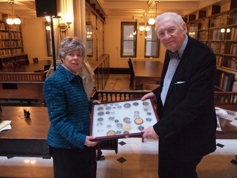 Fred Schumacher and Bonnie Brobst with Luther Medal Collection