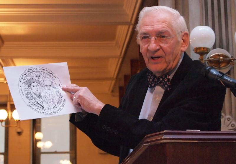 Fred Schumacher showing newest Luther medal designs