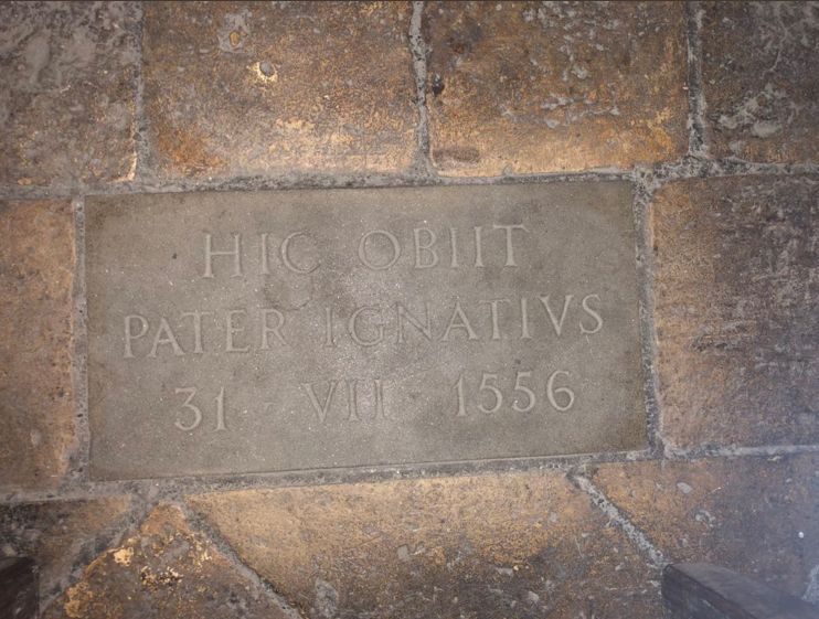 Stone marking the spot where St. Ignatius died