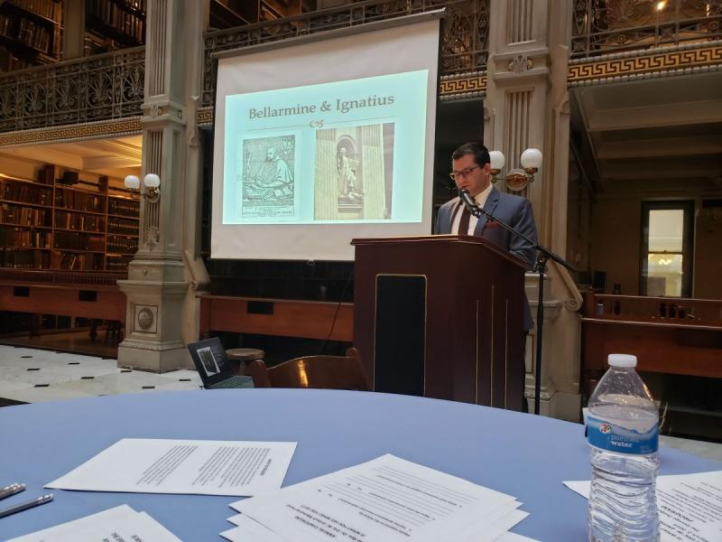 Thomas Santa Maria presents for the Gritsch Memorial Fund at the Peabody Library